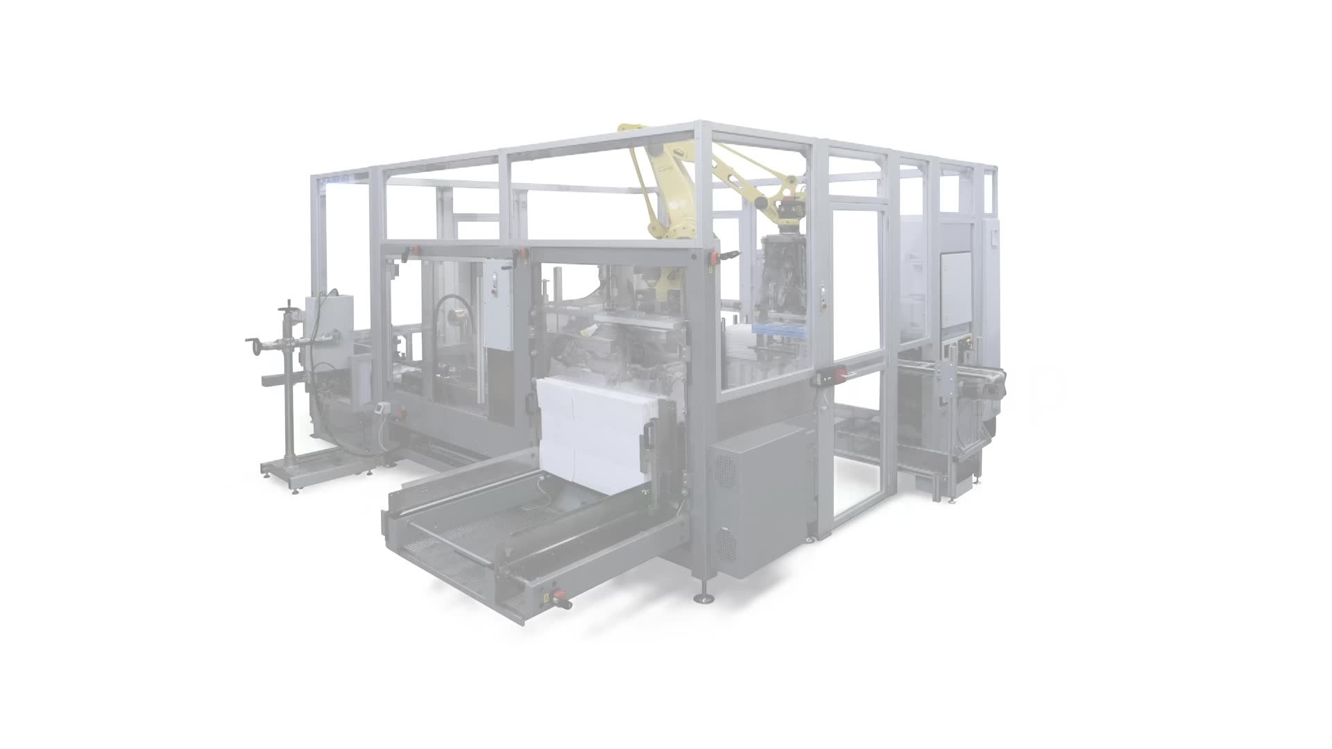 Highly automated packaging and palletizing line